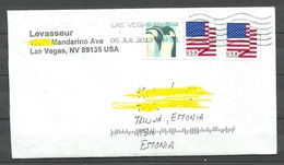 USA 2019 Cover To Estonia Flag Etc - Storia Postale