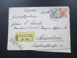 1885 Social Philately / Militärgeschichte Brief An Den Prinzen Alfons Von Bayern! Rekommandirt. Fürstliches Siegel ?! - 1850-1918 Imperium