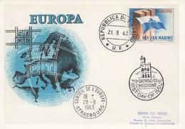 CM60  San Marino - Carte Maximum Avec Timbres Europa 1963 En Liaison Avec Le Conseil De L'Europe  TTB - Idées Européennes