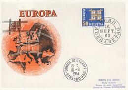 CM61  Suisse - Carte Maximum Avec Timbres Europa 1963 En Liaison Avec Le Conseil De L'Europe  TTB - Idées Européennes