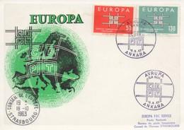 CM62  Turquie - Carte Maximum Avec Timbres Europa 1963 En Liaison Avec Le Conseil De L'Europe  TTB - Idées Européennes