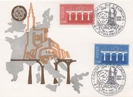 CM66  France - Carte Maximum Avec Timbres Europa 1984 Avec Cahet Du Conseil De L'Europe  TTB - Idées Européennes