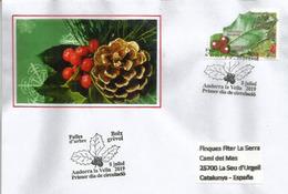 ANDORRA. European Holly.Feuille De Houx.Boix Grévol., Année 2019, FDC Adressé En Espagne - Toxic Plants
