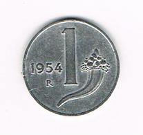 //  ITALIE  1 LIRE  1954 - 1946-… : République
