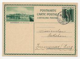 """Schweiz Suisse 1931: Bild-PK / CPI """"RAPPERSWIL Am Zürichsee""""  Mit O ST.MAURICE 18.II.31 (VALAIS) Nach Immensee - Entiers Postaux"""