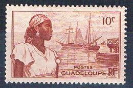 Guadeloupe 189 MLH Woman And Harbor 1947 (G0338)+ - Guadeloupe (1884-1947)