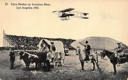 LOS ANGELES CALIFORNIA~EZRA MEEKER AT AVIATION MEET 1910~OREGON TRAIL POSTCARD 41112 - Los Angeles