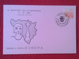 POSTAL POST CARD AJEDREZ CHESS Échecs SCHACH XADREZ PIEZA PIECE CARICATURE CARTOON SARAJEVO 1980 YUGOSLAVIA JUGOSLAVIJA - Postales