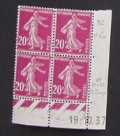 Semeuse 20 C. Lilas Rose 190 En Bloc De 4 Coin Daté - 1906-38 Sower - Cameo