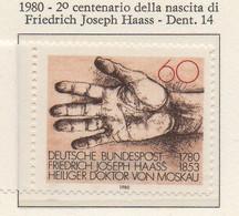 PIA - GERMANIA  - 1980 : 2° Centenario Della Nascita Del Medico E Filantropo Friedrich Joseph Haas  - (Yv 902) - Medicina
