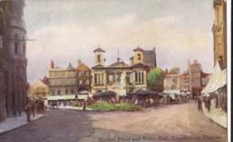 AM36 Market Place And Town Hall, Kinston On Thames - Art Postcard - London Suburbs