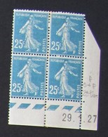 Semeuse 25 C. Bleu 140 En Bloc De 4 Coin Daté - Assez RARE - 1906-38 Sower - Cameo