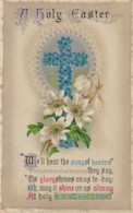 AO82 Greetings - A Holy Easter - Cross, Flowers, 1912 Postcard - Easter