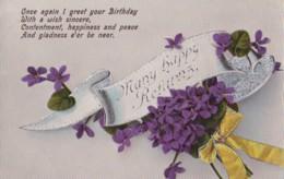 AO82 Greetings - Many Happy Returns - Flowers, Ribbon - Birthday