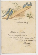 AK32 Novelty - Embossed, Blue Tits On A See Saw - UB - Fancy Cards