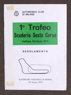Sport - 1° Trofeo Scuderia Sesto Corse - Autodromo Monza - Regolamento - 1975 - Altri