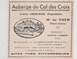Publicité 1937  Auberge Du Col Des Croix Grosjean Ht Du Them Restaurant Limonade - Publicités
