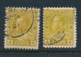 CANADA, 1922 4c Olive-yellow, Yellow-ochre , Fine, SG249,249a, Cat £7 - Gebruikt