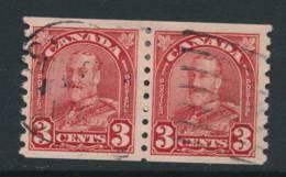 CANADA, 1930 3c Pair Coil Stamps P Imperf X 8 FINE CENTERED , Fine - Gebruikt
