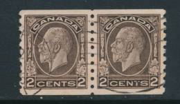 CANADA, 1932 2c Pair Coil Stamps P Imperf X 8 FINE CENTERED , Fine - Gebruikt
