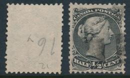 CANADA, 1868 WELL-CENTERED And FINE  ½c Grey-black, SG70, Cat £54 - 1851-1902 Regering Van Victoria