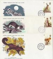 UNITED KINGDOM 1977 FDC (5) WWF With Mammals. - FDC