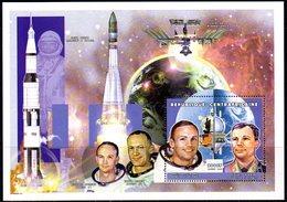 CENTRAFRIQUE Bf 166 Youri Gagarine, Apollo 11, Glenn, Armstrong, Collins, Aldrin - Africa