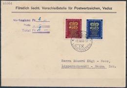 Liechtenstein 1945: Geburt Erbprinz Zu 207-208 Mi 240-241 Yv 215-216 Auf NN-FDC Mit O VADUZ 9.IV.45 Nach Lipperschwendi - FDC