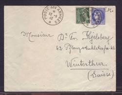 Lettre Obl. Poste Aux Armées 13.06.1940 Aff. Cérès/Mercure -> Winterthur - Exp. Hôpital Compl. Sens -8° Région - Postmark Collection (Covers)