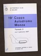 Sport Auto - 19^ Coppa Autodromo Di Monza - Formula 3 - 1968 - Regolamento - Altri