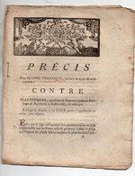 Bayeux (14 Calvados)  FACTUM : Précis POUR Jeanne THIELOQUE N CONTRE Jean FOUQUES   (c 1783)  (FCT 032) - Documentos Históricos