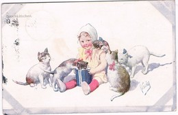 Chats Et Fillette  -cats And Child-  Meisje,poezen -katzen, Mädchen, Freitag - Cats