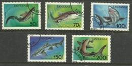 Tanzania - 1993 Sharks  CTO    SG 1666-70  Sc 1138-42 - Tanzania (1964-...)