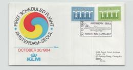 Pays-Bas Enveloppe Commémorative Premier Vol Amsterdam-Seoul Du 30 Octobre 1984 - Postal History