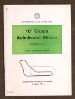 Sport Automobilismo - 16^ Coppa Autodromo Monza - Formula 3 - 1967 - Regolamento - Altri