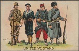 United We Stand, Britain, France & Russia, 1914 - Valentine's Postcard - Patriotic