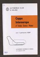 Coppa Intereuropa 4° Trofeo Enrico Mattei - Autodromo Monza - 1971 - Regolamento - Altri