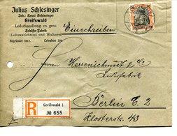 49   Allemagne - GREIFSWALD  - NEUSTADT   à BERLIN De  Julius SCHLESINGER - ENVELOPPE RECOMMANDEE - -1906 1 TIMBRES - Germany