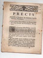 (factum) Précis POUR SALLES-DUFESQ  , CONTRE MARGUERIT ET SALLES DE SALINELLE C.1772 (FCT033) - Documentos Históricos