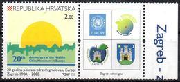 CROATIA 2008 - 1v - MNH - Healthy Cities In Europe - Environment - Pollution Umwelt - Verschmutzung Health Coats Of Arms - Pollution