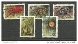 Tanzania - 1994 Arachnids  CTO    SG 1830-4  Sc 1235-9 - Tanzania (1964-...)