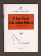 Sport - 9° Gran Premio Lotteria Autodromo Monza - Formula 3 - 1967 - Regolamento - Altri