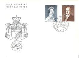 Liechtenstein 1960:  Fürstenpaar Zu 340-341 Mi 402-403 Yv 349 A+B Auf FDC Mit O VADUZ 6.XII.60 (Zumstein CHF 40.00) - FDC