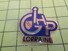 511d Pins Pin's / Rare & Belle Qualité THEME TRANSPORTS / LORRAINE FAUTEUIL ROULANT GIHP HANDICAP - Transportation