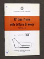 Sport 10° Gran Premio Lotteria Autodromo Monza - Formula 2 - 1968 - Regolamento - Libros, Revistas, Cómics
