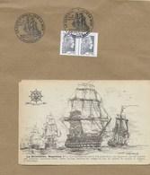 Napoléon Et La Marine Française : Une Carte Postale Et Un Timbre A Date Illustré à Voir - Boats