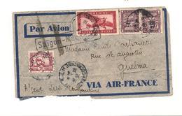 INDOCHINE 1936 ENVELOPPE VIA  GUELMA (ALGÉRIE) - Indochina (1889-1945)