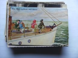 Enfants Children Kinder On A Boat - Humorkaarten