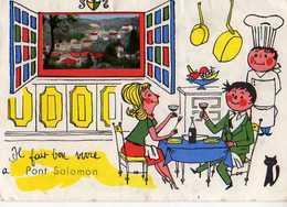 43 Il Fait Bon Vivre A PONT SALOMON, Illustrateur, Couple Attable, Chef Cuisinier En Toque, Chat - France