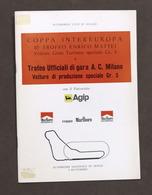 Coppa Intereuropa 10° Trofeo Enrico Mattei - Autodromo Monza 1977 - Regolamento - Altri